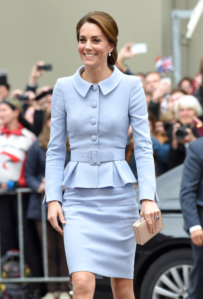 For her 2016 trip to the Netherlands, Kate channelled Jackie O in a pastel blue skirt suit by Diana's favourite Catherine Walker.