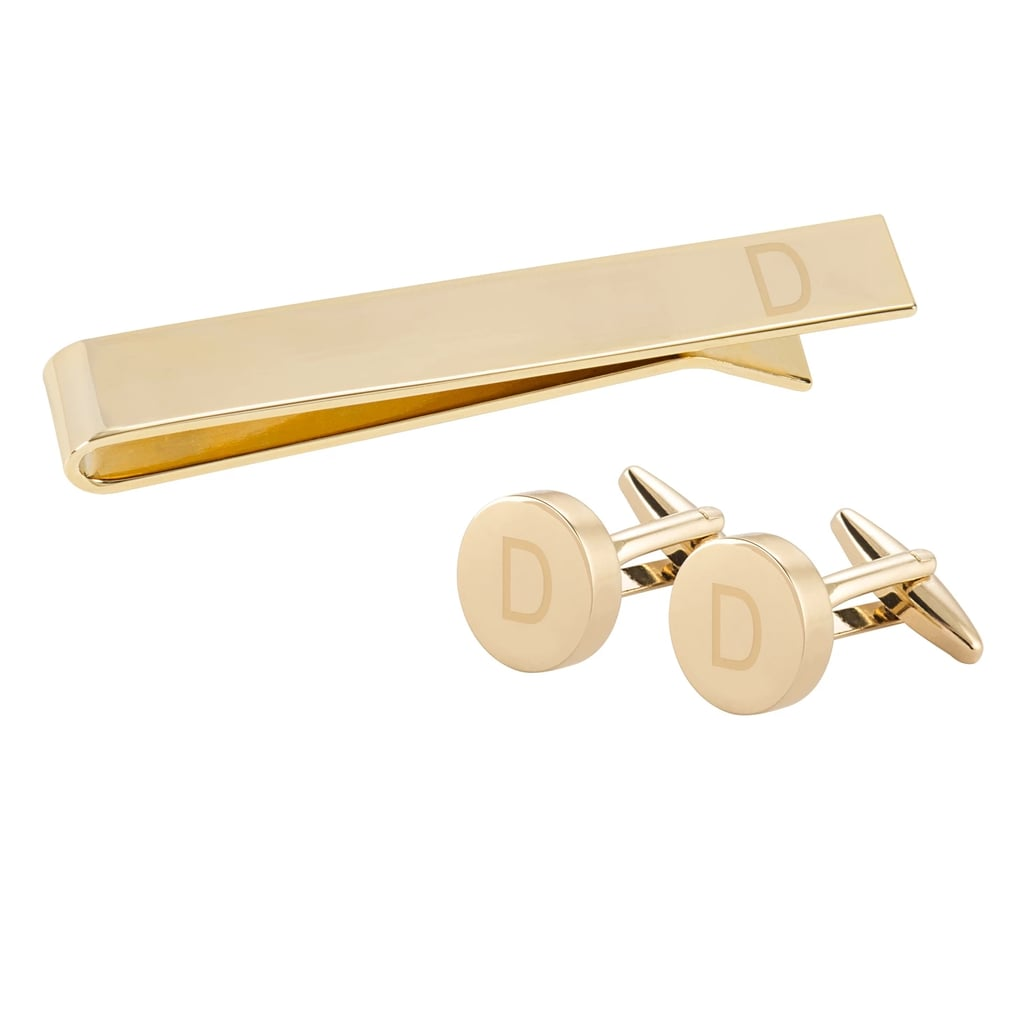 Cathy's Concept Personalized Gold Round Cuff Link and Tie Clip Set