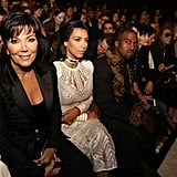 Kim and Kris Jenner sat front row at the Spring 2015 runway show.