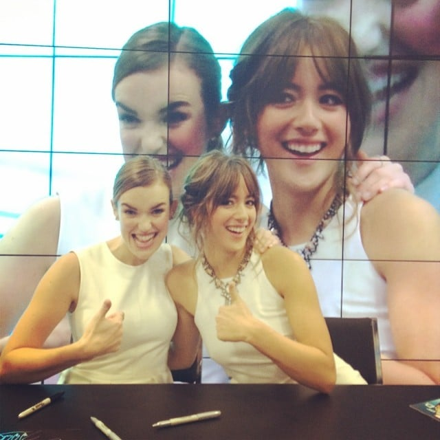 """""""I'm seeing double here,"""" Chloe Bennet wrote in the caption for this snap with her Agents of S.H.I.E.L.D. costar Elizabeth Henstridge. Source: Instagram user chloebennet4"""