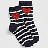 Stripes and bright red hearts make these Kids Cozy Socks ($7) totally adorable.