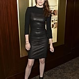 Kristen Stewart brought her usual brand of badass-cool to an NYC screening, rocking a black leather dress from A.L.C.'s Fall '12 collection. In her usual Stewart style, she wore biker-style sandals before changing into a pair of waiting Chuck Taylors.