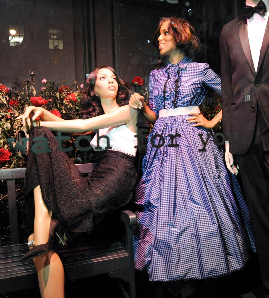 Kerry Washington posed with her mannequins in the windows at Saks Fifth Avenue.