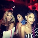 Chanel Iman was happy to cuddle up to Beyoncé and Solange Knowles at the Met Gala. Source: Instagram user chaneliman