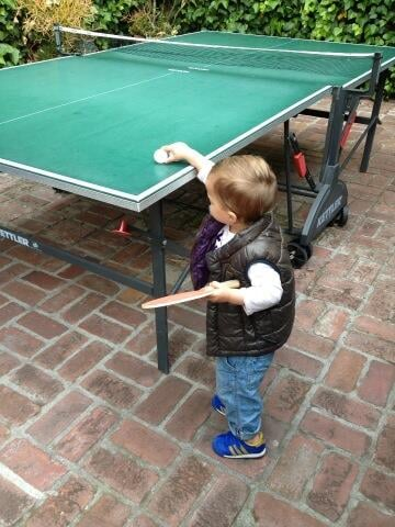 Selma Blair lost a round of ping-pong to little Arthur. Source: Twitter user SelmaBlair