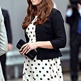 Kate chose Topshop white with black spots for a trip to the Harry Potter Warner Bros. Studio Tour in London back in 2013.