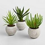 Faux Succulents in Etched Cement Pots