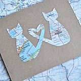 Mother's Day Personalized Cat and Map Card