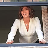 Jennifer Aniston shot from a window on the NYC set of Squirrels to the Nuts Thursday.