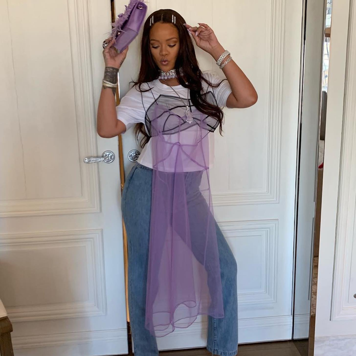 e3e39ebc53 ALDO Montesegale Embellished Perspex Clear Heeled Sandals | Rihanna Wearing  Purple Dress Over Jeans on Instagram | POPSUGAR Fashion Photo 4