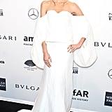 Lily Aldridge, wearing Rosie Assoulin, at amfAR's New York Gala.