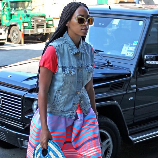 Solange Knowles Colorful Stripe Skirt