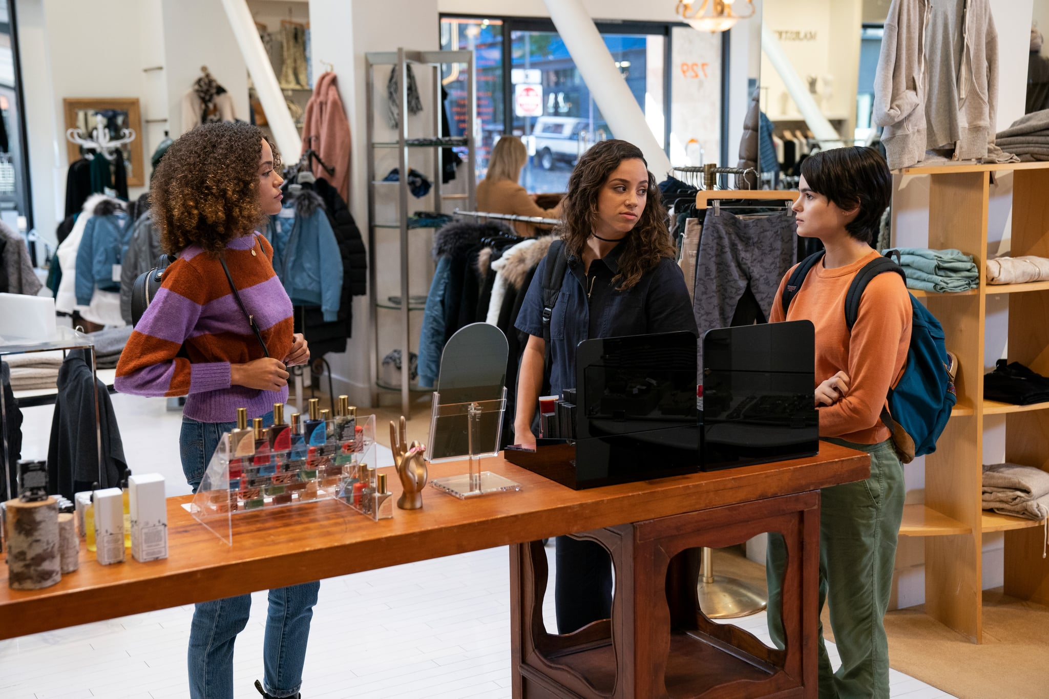 TRINKETS, from left:  Quintessa Swindell, Kiana Madeira, Brianna Hildebrand  in 'Mirrors', (Season 1, Episode 101, aired June 14, 2019), ph: Allyson Riggs / Netflix / Courtesy Everett Collection