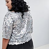 ASOS Design Curve Oversize T-Shirt With All Over Disc Sequins