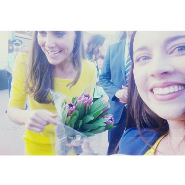 A young woman in Sydney, Australia, snapped a picture with Kate when she visited the country in April 2014. Source: Instagram user 56freckles