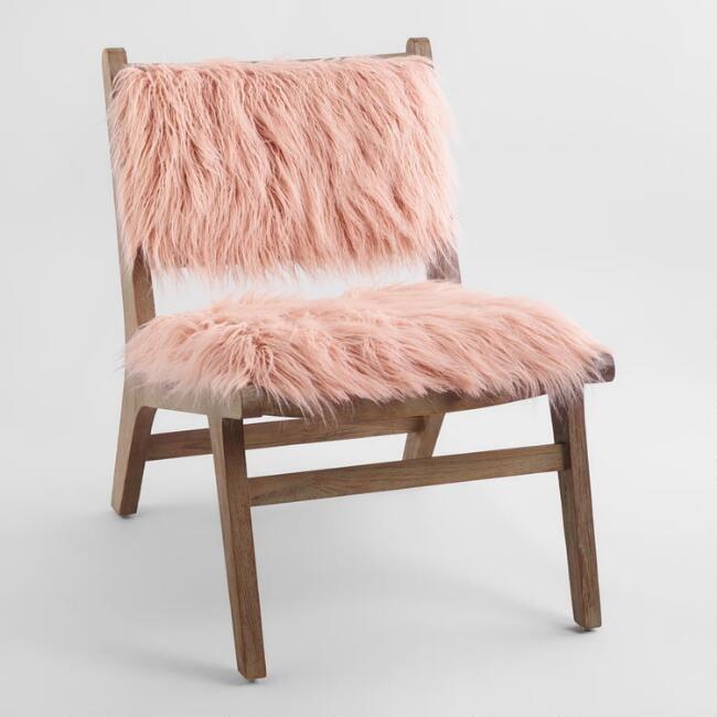 Blush Faux-Flokati Gunnar Chair