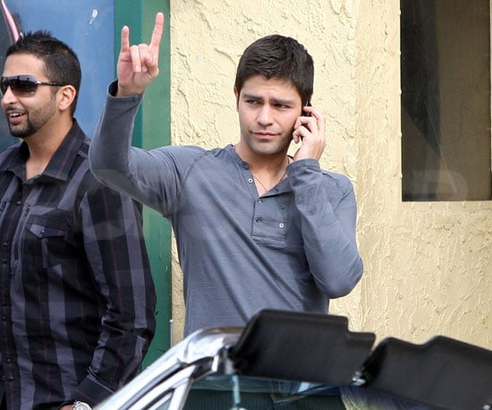 Slide Picture of Adrian Grenier on the Set of Entourage in LA