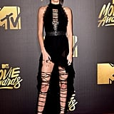 Kendall Jenner rocking amazing thigh-high, lace-up sandals at the 2016 MTV Movie Awards in LA.