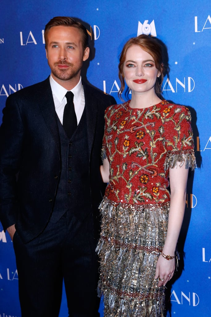 """Emma Stone and Ryan Gosling barely had time to celebrate their big Golden Globes wins before they jetted off to Paris for another round of La La Land press. The duo hit the red carpet along with director Damien Chazelle on Tuesday night and posed for photos together after signing autographs for excited fans. Just days before landing in the City of Light, Emma, Ryan, and Damien all won big at the Golden Globes; Emma and Ryan took home trophies for best actress and best actor in a musical or comedy, respectfully, while Damien nabbed best director for his work on the film. The trio also won one of the night's biggest honors: best motion picture, musical or comedy. In addition to making us tear up with their heartfelt acceptance speeches, Ryan and Emma also made us laugh with their spot-on reactions to that blink-or-you-miss-it makeout between Ryan Reynolds and Emma's ex Andrew Garfield.      Related:                                                                Ryan Gosling Dedicates His Golden Globe to """"Sweetheart"""" Eva Mendes and Her Late Brother                                                                   Emma Stone Delivered an Adorably Sweet Golden Globes Acceptance Speech For Her La La Land Win                                                                   Emma Stone and Ryan Gosling Clearly Have Crazy, Stupid, Love For Each Other"""