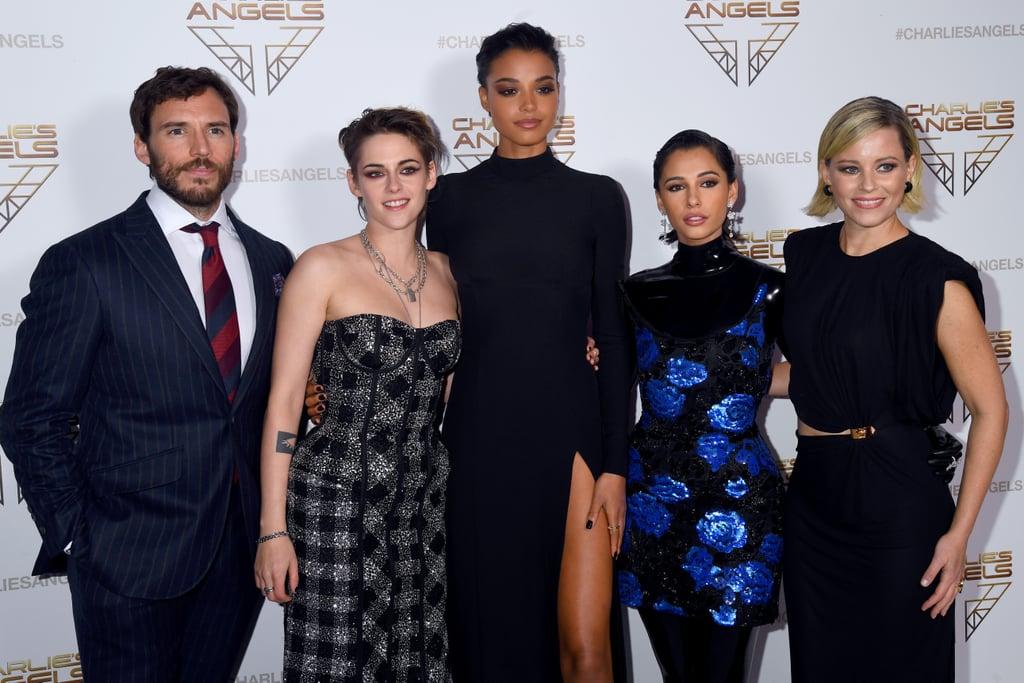 Sam Claflin, and Kristen Stewart, Ella Balinska, Naomi Scott, and Elizabeth Banks at the Premiere