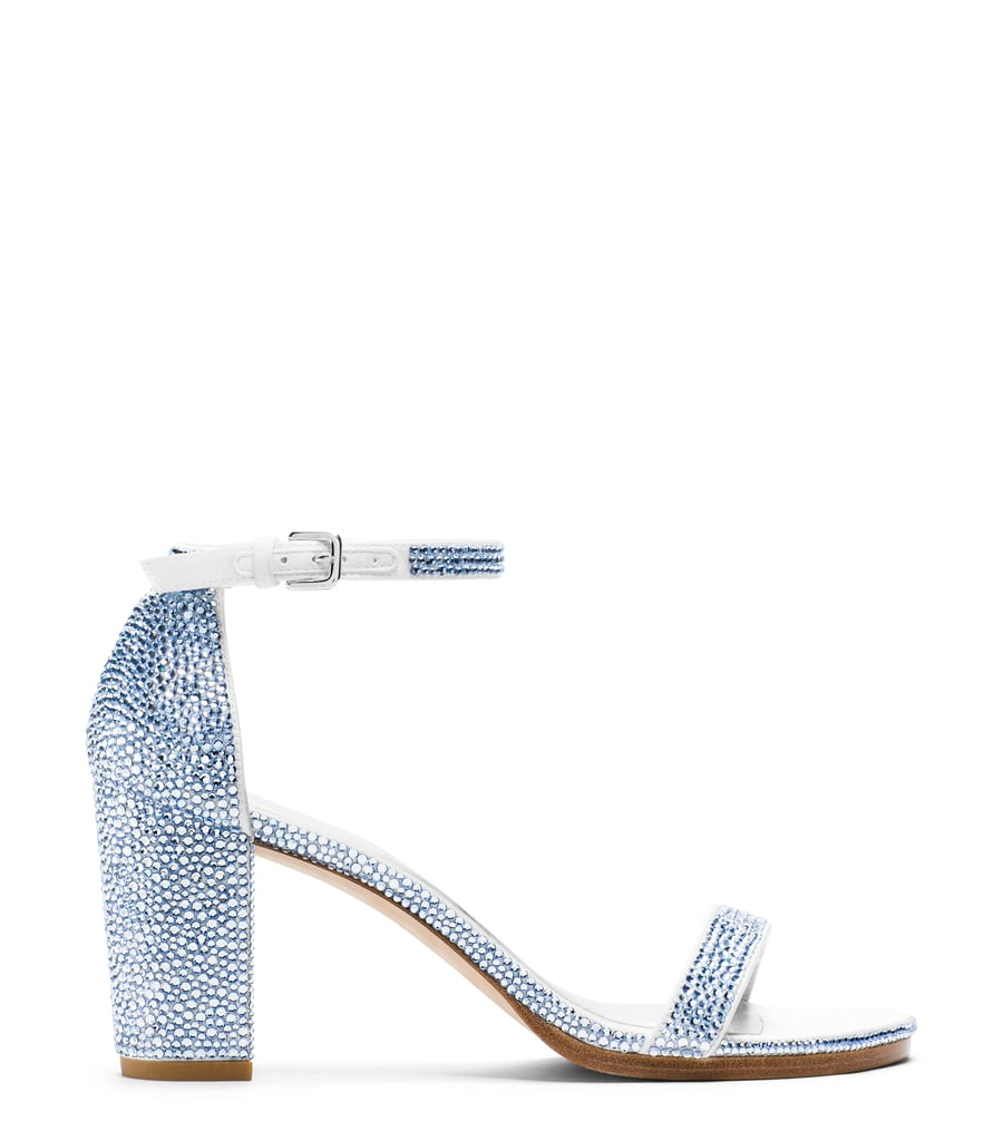 Nearlynude Sandal in Pavé Crystals Light Sapphire ($2,200)