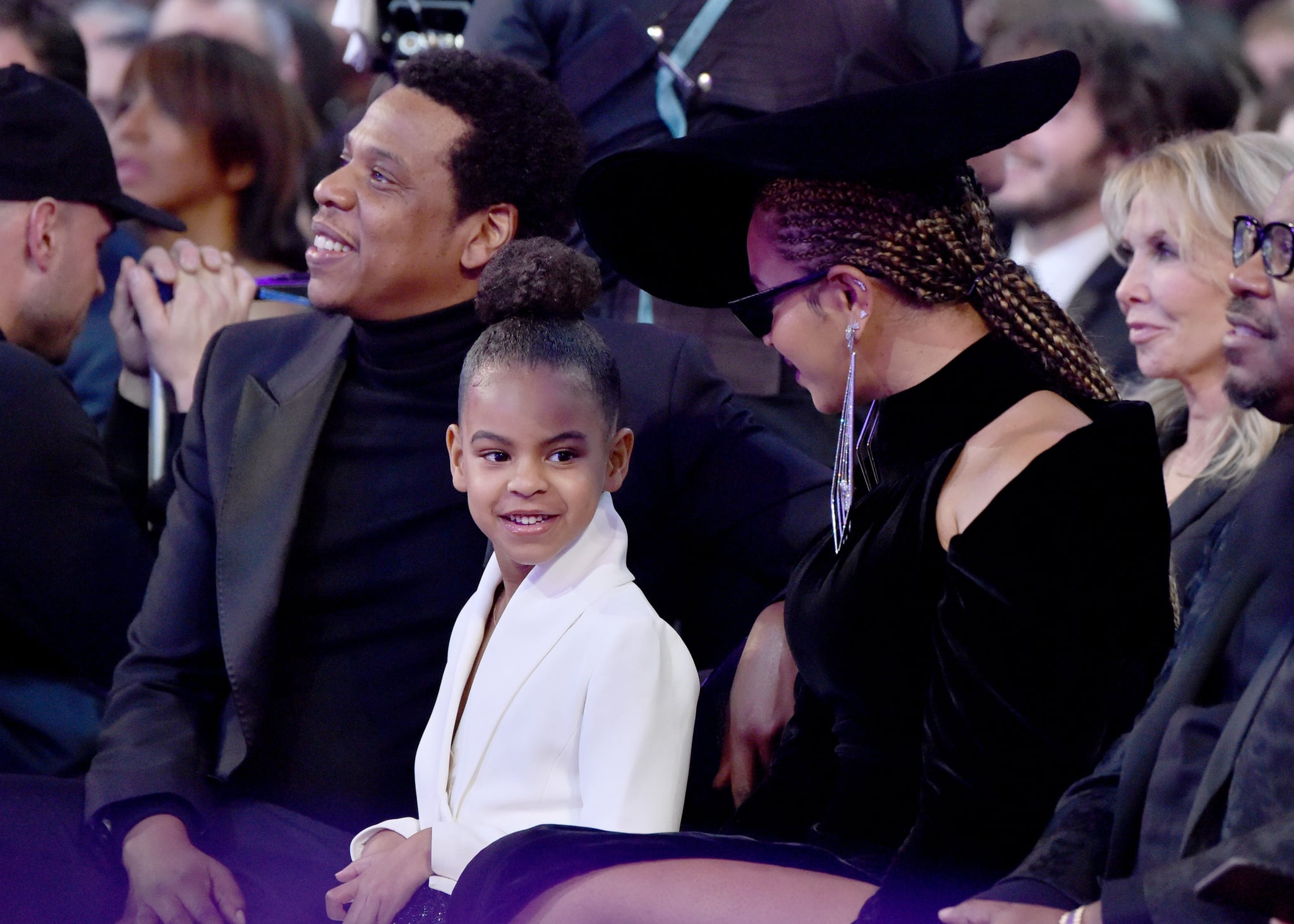 NEW YORK, NY - JANUARY 28:  Recording artist Jay Z, daughter Blue Ivy Carter and recording artist Beyonce attend the 60th Annual GRAMMY Awards at Madison Square Garden on January 28, 2018 in New York City.  (Photo by Lester Cohen/Getty Images for NARAS)