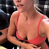 Nina Agdal's Red Bikini July 2018
