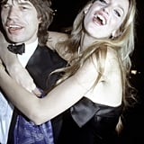 Mick Jagger and Jerry Hall clown around at Woody Allen's New Year's Eve party in 1979.