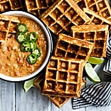 Cheddar Jalapeño Cornbread Waffles With Turkey Chile Con Queso Dip