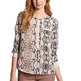 Rebecca Taylor's snake-print blouse ($250) would be the perfect addition to your work wardrobe. Then wear it with leather pants for nighttime fun.