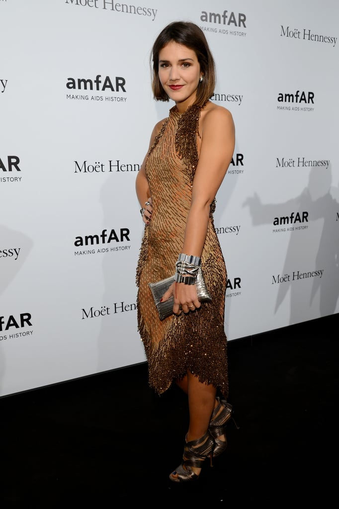 Margherita Missoni showed off a sequined-adorned halter — and her newly cropped locks — at amfAR.