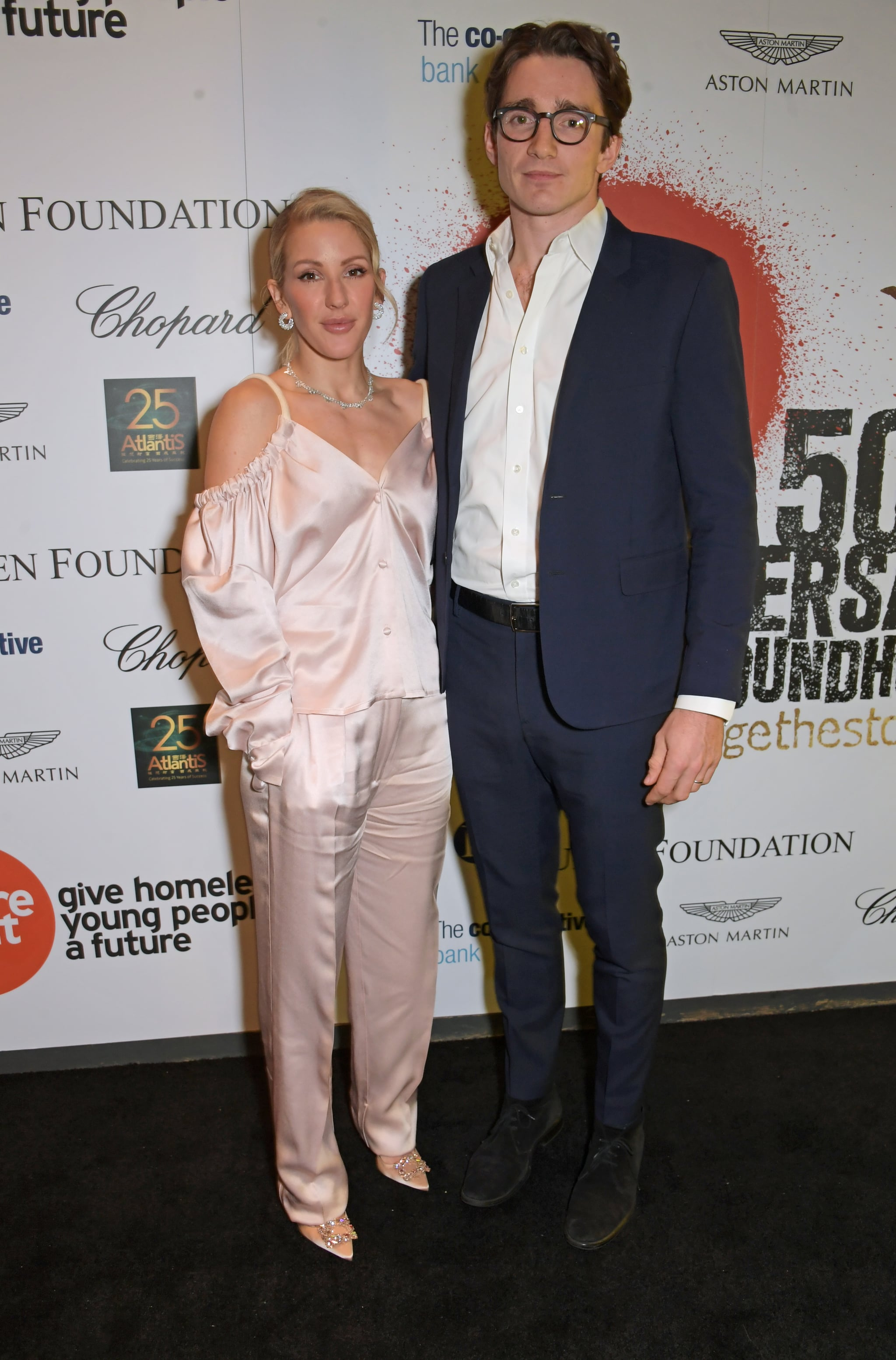 LONDON, ENGLAND - NOVEMBER 13:   Ellie Goulding and Caspar Jopling join Patron of Centrepoint, HRH The Duke of Cambridge, young people supported by Centrepoint, and the charity's staff, ambassadors and supporters to mark the charity's 50 years of tackling youth homelessness, at The Roundhouse on November 13, 2019 in London, England. Duran Duran, Rita Ora and Hussain Manawer all performed at the gala.  (Photo by David M. Benett/Dave Benett/Getty Images for Centrepoint)