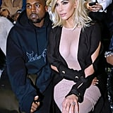 Kim Sat Front Row at the Lanvin Show in a See-Through Body-Con Dress