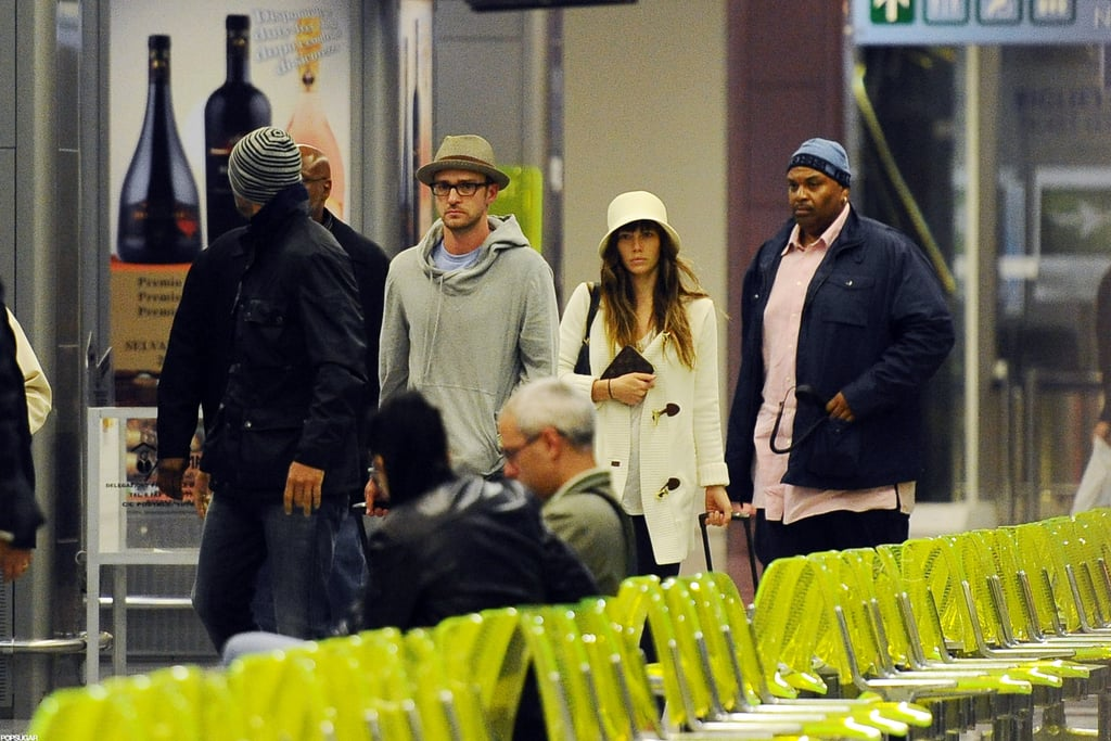 """Justin Timberlake and Jessica Biel were seen in public for the first time since their wedding on Friday when they left from an Italian airport yesterday. The couple headed out of town after spending a few days in Puglia, where they lodged at the Borgo Egnazia resort. Speaking to People, JT called their nuptials """"magical"""" and """"unforgettable."""" Jessica, meanwhile, said their vow exchange was """"a fantasy."""" On Saturday, we had a look at Justin Timberlake wearing his wedding band for the first time. Now, he and Jessica are able to head off on their first trip together as man and wife."""