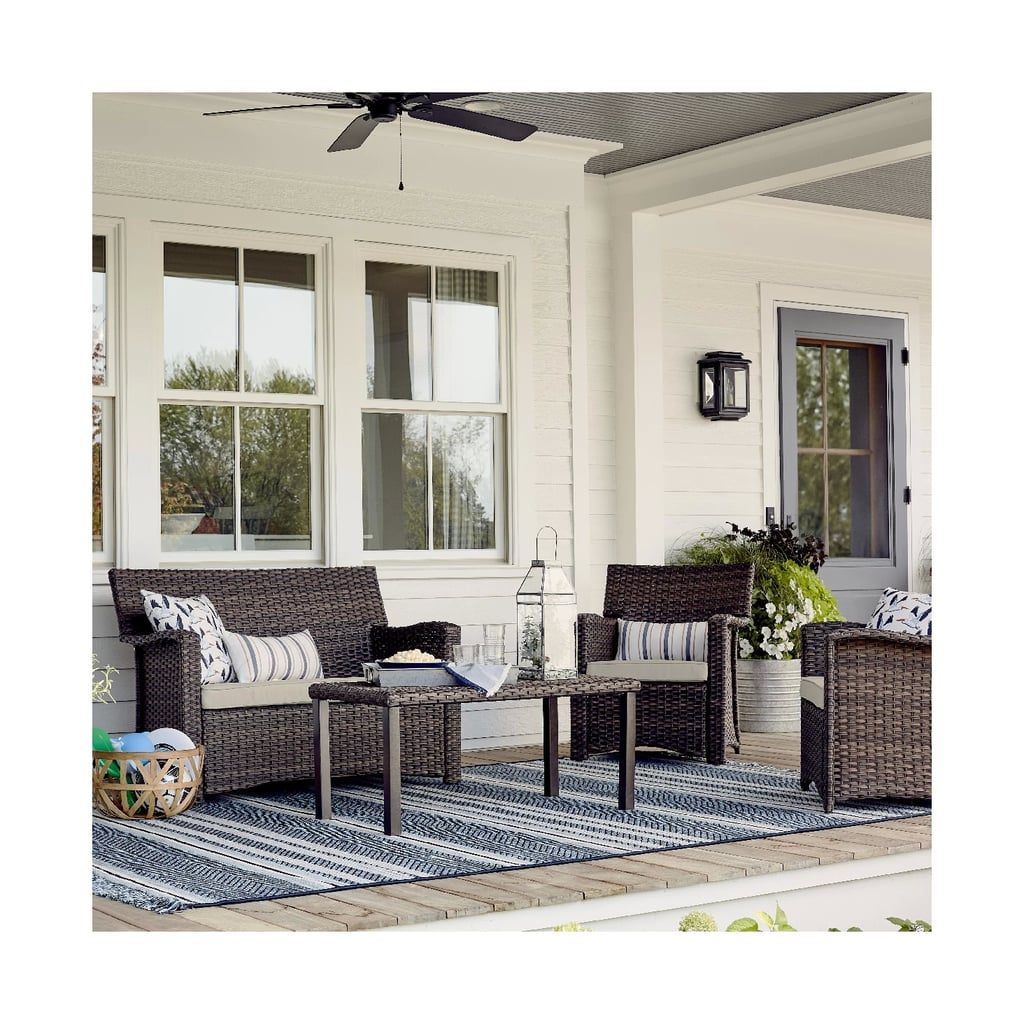 Halsted 4-Piece All-Weather Wicker Patio Conversation Set