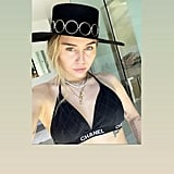 Miley Cyrus Chanel Bikini Top and YSL Hat