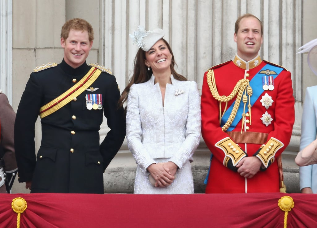 Kate Middleton and Prince William joined the rest of the British royal family for the traditional Trooping the Colour festivities on Saturday. Prince Harry was also there, riding in a carriage alongside Kate before they shared laughs on the balcony with William. The queen's celebrations also included Prince Philip; Prince Charles; Princess Eugenie; Sophie, Countess of Wessex; Prince Edward; and Camilla, Duchess of Cornwall. Trooping the Colour is one of the British royal family's many traditions. It dates back to 1748, when the ceremony was deemed the official birthday celebration for the British sovereign. This year, following tradition, the royal family joined troops from the Household Division for a military ceremony. After the march, they returned to Buckingham Palace to greet huge crowds and watch the Royal Air Force fly overhead from the balcony. See all the best pictures from this year's Trooping the Colour below.