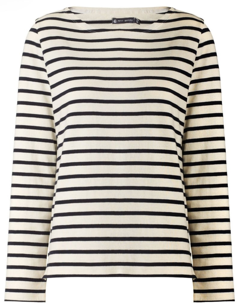 The easiest way to play the part of stylish Parisian is with Petit Bateau's iconic striped cotton-jersey top ($90).