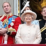 Pictured: Prince George, Prince William, Queen Elizabeth II, Kate Middleton, Prince Harry, and James, Viscount Severn.