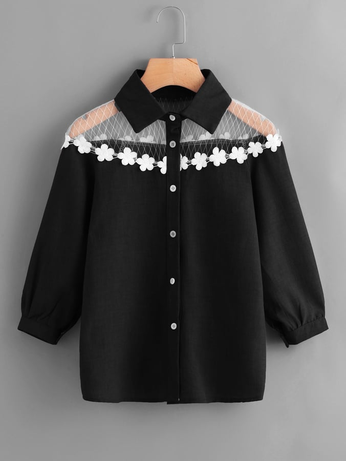 28bfcce85b Shein Contrast Lace Appliques Shirt | Spring Tops From Shein ...