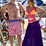 Ty Burrell went shirtless for a scene at Bondi Beach on Feb. 21, while Sofia Vergara wore the brightest cut-out one-piece ever.