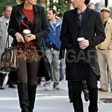 Blake Lively and Penn Badgley held coffees for a scene in Gossip Girl.