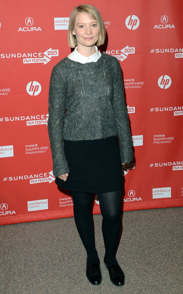 Mia Wasikowska sported this Joe's grey sweater over a white Peter Pan collar blouse, then completed her preppy outfit with a black miniskirt, black tights, and boots.