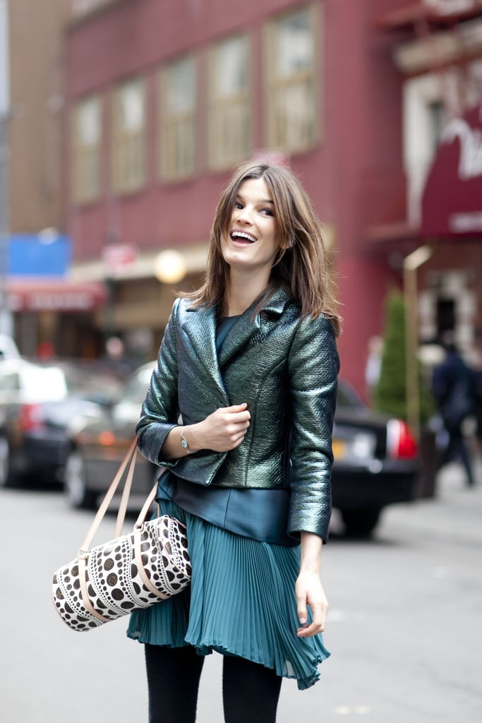 Hanneli Mustaparta was street-style perfection in shades of pretty green.