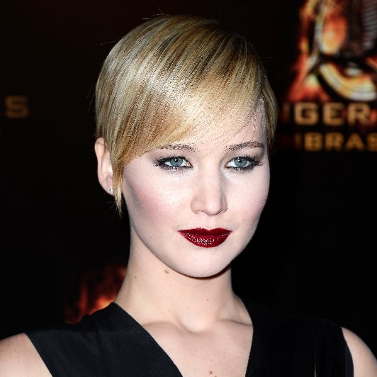 Celebrity Beauty: Jennifer Lawrence, Slick Hair & Dark Lips