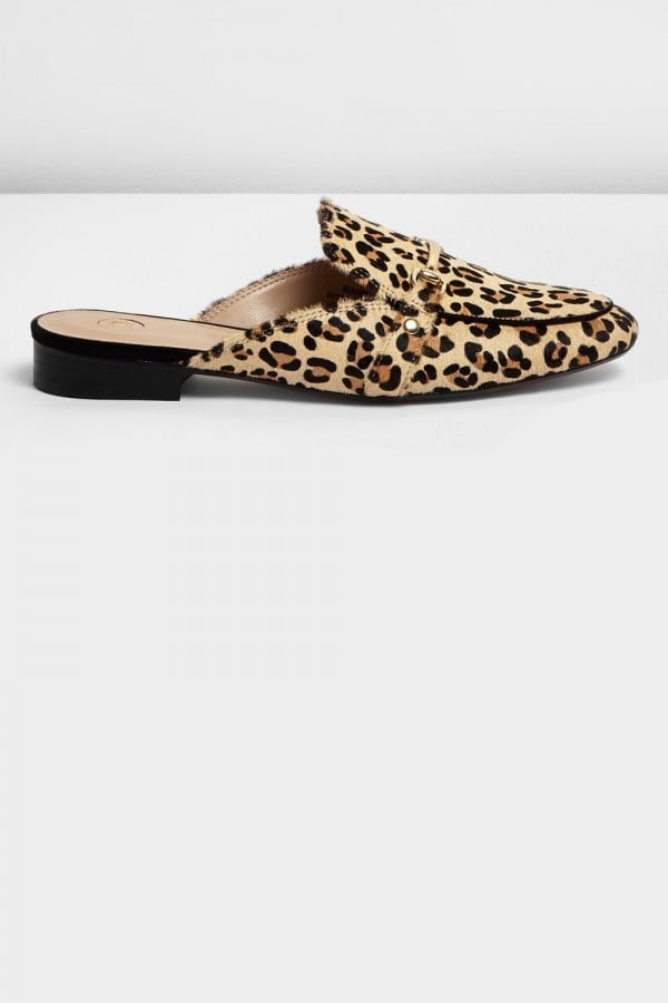 River Island Womens Brown leopard-print backless loafers ($110)