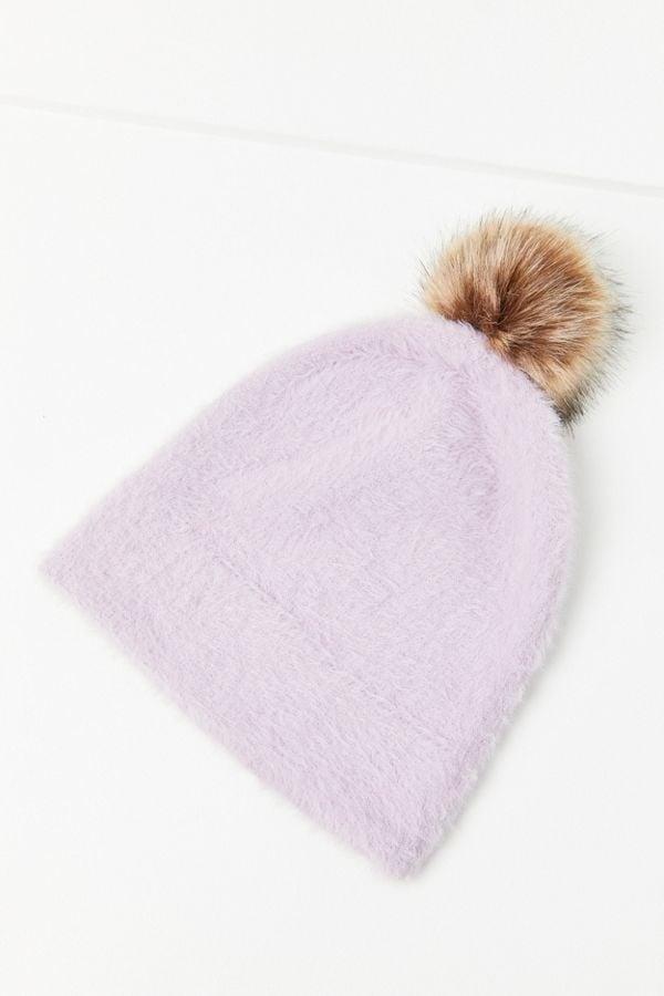 Fuzzy Furry Pompom Beanie
