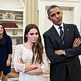 "When Olympic gymnast McKayla Maroney visited The White House in November 2012,  President Obama joined her in her iconic ""not impressed"" expression that went viral after the 2012 Games. Source: Flickr user The White House"