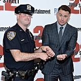 "Channing Tatum was ""arrested"" at the 22 Jump Street premiere in NYC on Wednesday."