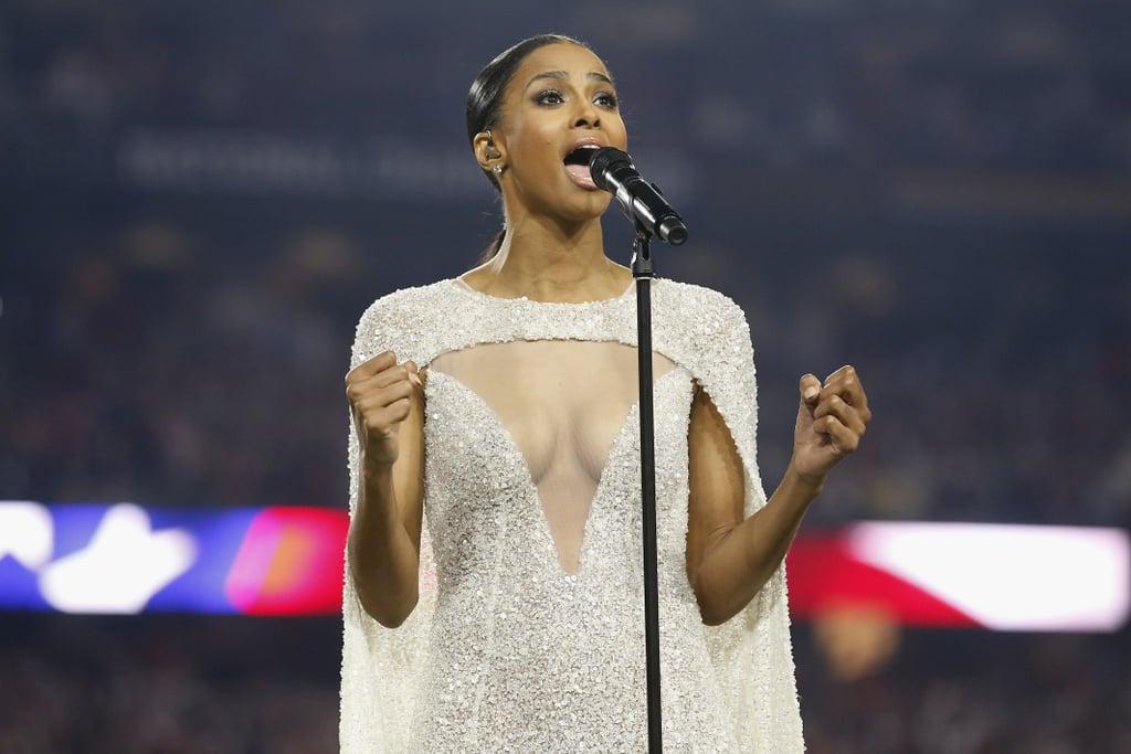 Ciara's National Championship Embellished Cape Dress